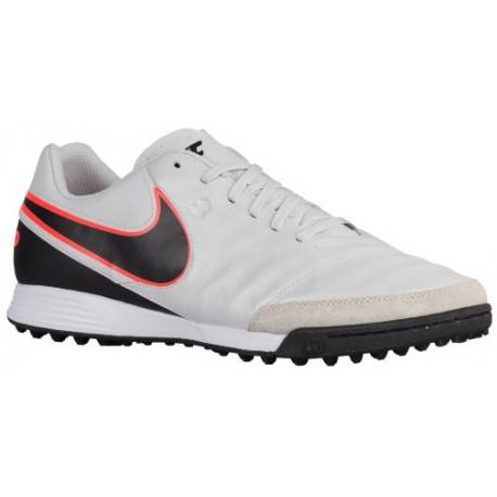 Nike Tiempo Genio II Leather TF Pure Platinum/Black/Metallic Silver/Hyper Orange - Nike Soccer Shoes