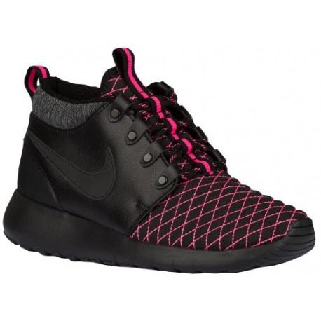 Nike Roshe One Mid Girls Grade School Black/Pink Pow Running Shoes
