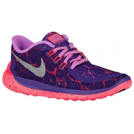 Nike Free 5.0 2015 Girls Grade School Court Purple/Metallic Silver/Fuchsia Glow/Hot Lava Running Sho