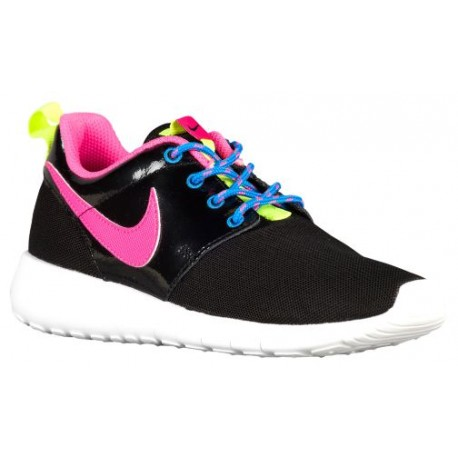 Nike Roshe One - Girls' Grade School - Running - Shoes - Black/Pink Pow/Vivid Pink/White/Volt-sku:99729011
