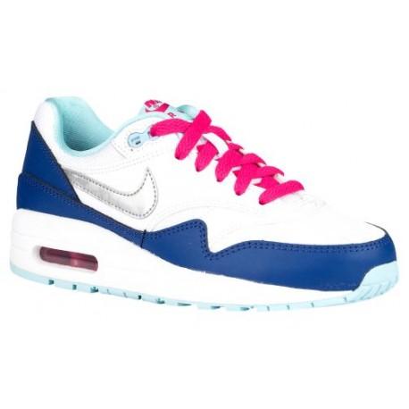 Nike Air Max 1 Girls' Grade School Running Shoes WhiteVivid PinkCopaMetallic Silver sku:47053100