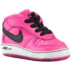 Nike Air Force One Crib - Girls' Infant - Basketball - Shoes - Black/Pink Foil/White-sku:25337004