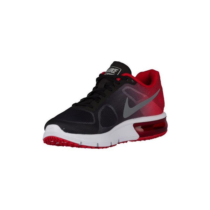 Mens Nike Air Max Sequent Black/University Red/Cool Grey/Metallic Cool Grey Running Shoe
