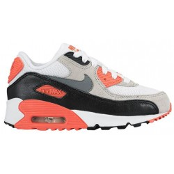 Nike Air Max 90 - Boys' Preschool - Running - Shoes - White/Neutral Grey/Black/Cool Grey-sku:24883100