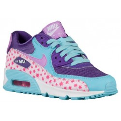 Nike Air Max 90 - Girls' Grade School - Running - Shoes - Prism Pink/Tide Pool Blue/Fuchsia Glow/Pink Foil-sku:4875600