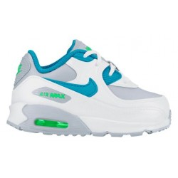 Nike Air Max 90 - Girls' Toddler - Running - Shoes - White/Blue Lagoon/Metallic Silver-sku:24854104