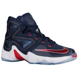 Nike LeBron XIII - Boys' Grade School - Basketball - Shoes - Midnight Navy/University Red/White/Bright Crimson-sku:08709461