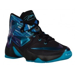 Nike LeBron XIII - Boys' Grade School - Basketball - Shoes - Black/White/Heritage Cyan-sku:08709003
