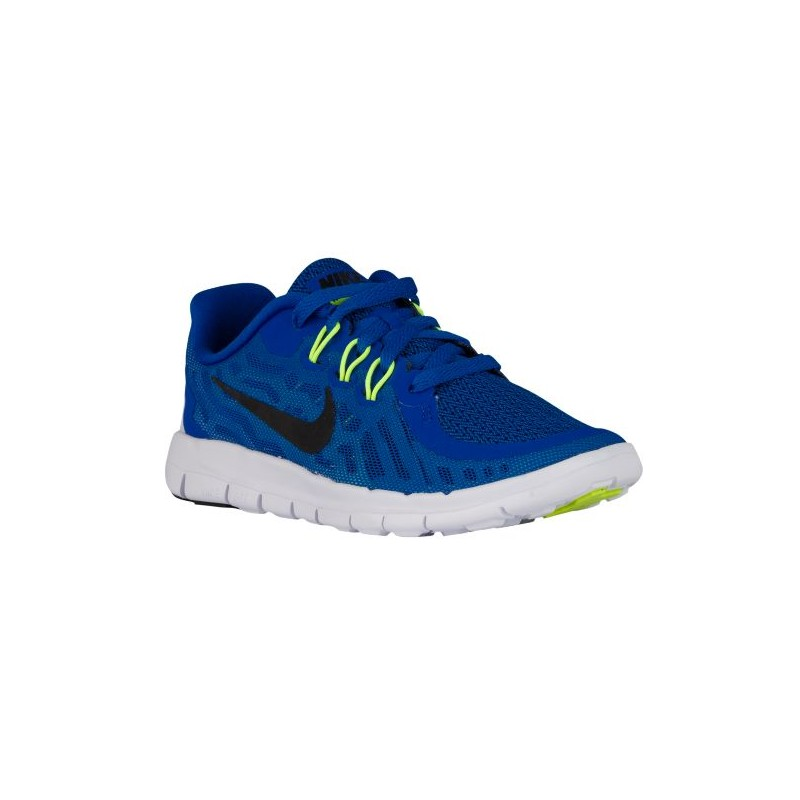 Nike Free 5.0 2015 Boys Preschool White/Chalk Blue/Volt/White/Bright Mango Running Shoes V89791