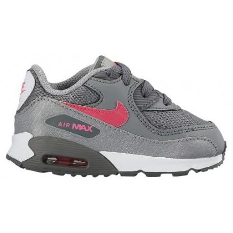 Nike Air Max 90 Girls' Toddler Running Shoes Cool GreyHyper PinkWolf GreyWhite sku:24857007