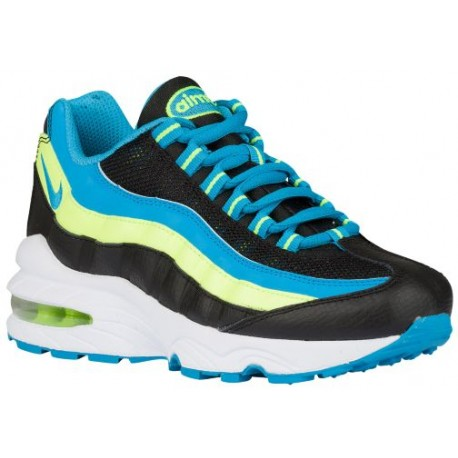 super popular ae92e 5256c Nike Air Max 95 - Boys' Grade School - Running - Shoes - Black/Blue  Lagoon/Volt/White-sku:07565079