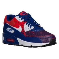 Nike Air Max 90  - Boys' Grade School - Running - Shoes - Deep Royal Blue/White/Light Crimson/Obsidian-sku:4882401