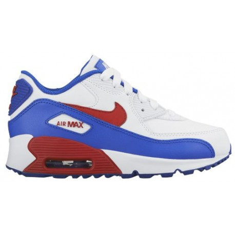 Nike Air Max 90 Boys' Preschool Running Shoes WhiteUniversity RedRacer Blue sku:24822104
