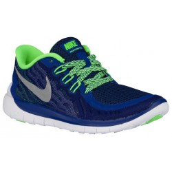 Nike Free 5.0 2015 - Boys' Grade School - Running - Shoes - Deep Royal Blue/Metallic Silver/Green Strike/Black-sku:25104403