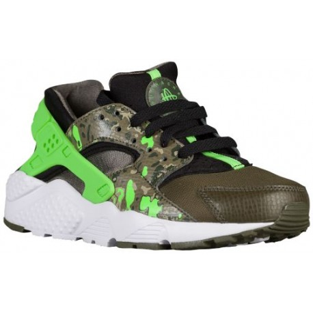 Nike Huarache Run Boys Grade School Black/Green Strike/Cargo Khaki/Medium Olive/White Running Shoes