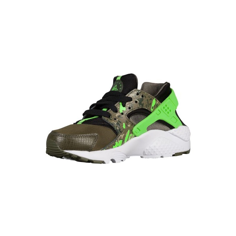 ... Nike Huarache Run - Boys' Grade School - Running - Shoes - Black/Green  ...