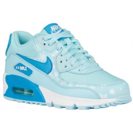 Nike Air Max 90 Girls' Grade School Running Shoes CopaBlue LagoonWhite sku:4875400