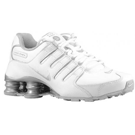 Nike Shox NZ SI Plus - Boys' Grade School - Running - Shoes - White/Neutral Grey/Metallic Silver-sku:17930106
