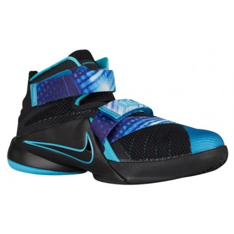 Nike Soldier IX - Boys' Preschool - Basketball - Shoes - Black/Beta Blue/Heritage Cyan-sku:76472040