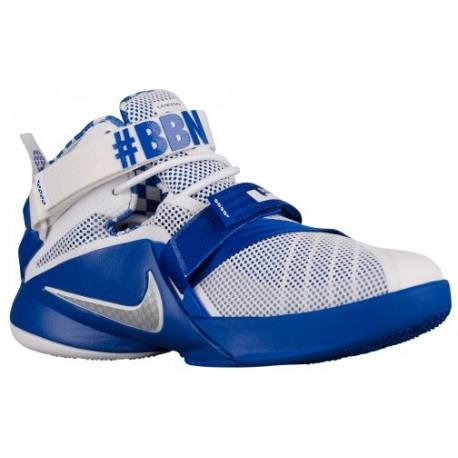 Nike Soldier IX - Boys' Grade School - Basketball - Shoes - White/Metallic Silver/Game Royal-sku:76471104
